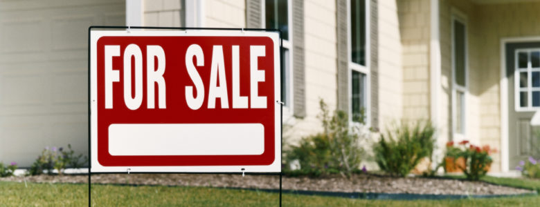 For Sale Sign on a Lawn in Front of a House